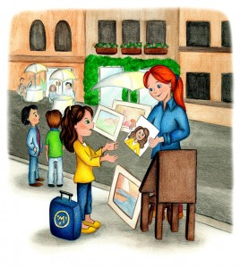 """An artist draws Molly in the Piazza Navona, from """"Molly Goes to Rome."""" Illustration by Amy Houston Oler"""