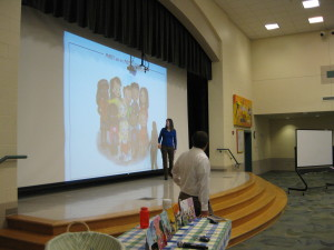 Our most recent school talk, sharing the characters we created for the first nine books.