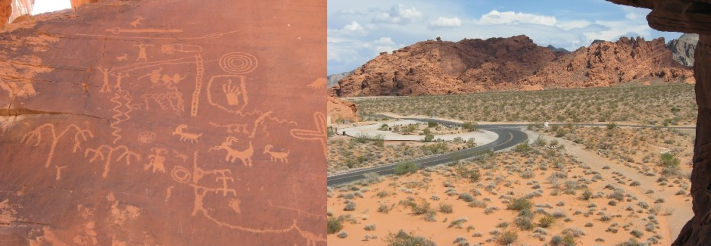 Petroglyphs and landscape of the Valley of Fire State Park, Nevada.