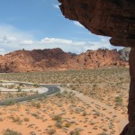 Taken from same spot as petroglyph photo, this shows a crossroads in the Valley of Fire State Park, Nevada.