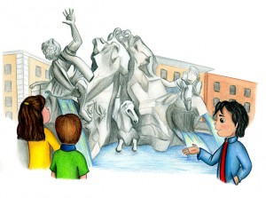 "The Fountain of the Four Rivers, illustration by Amy Houston Oler. From our first book ""Molly Goes to Rome."""