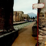 Street view of Mt. Vesuvius from the ruins of Pompeii, Italy.